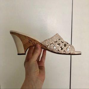 Vintage Naturalizer Woven and Wood Heels Sandal